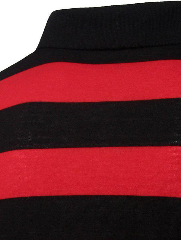 Collar Stripes Turn-down T-shirt court Men 's  Manches Polo - Rouge M