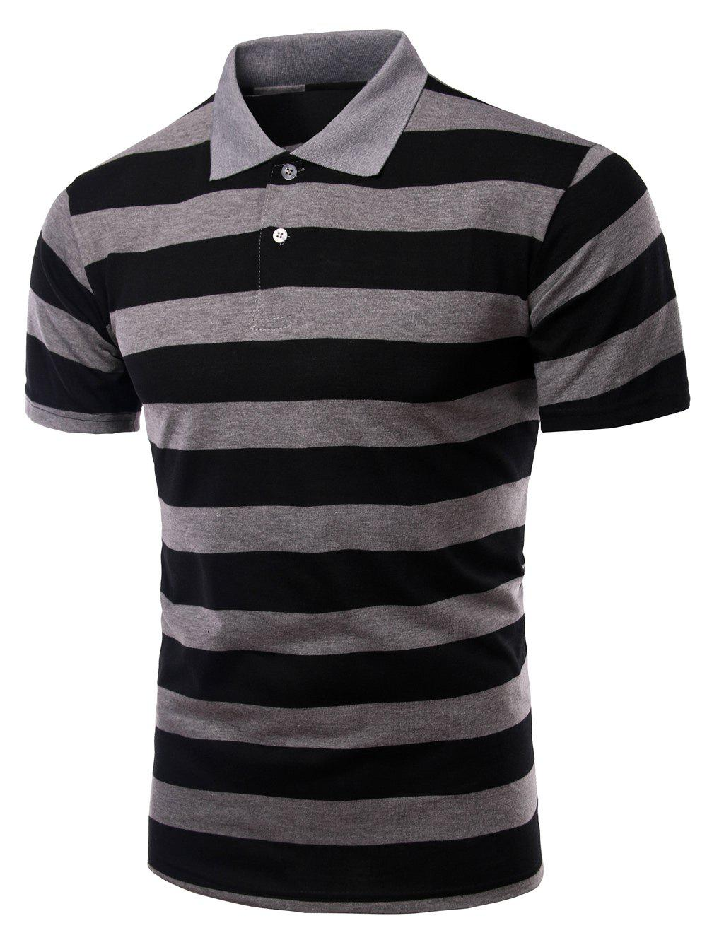 Men's Stripes Turn-down Collar Short Sleeves Polo T-Shirt - GRAY XL