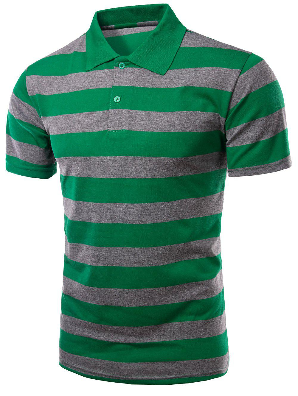 Men's Stripes Turn-down Collar Short Sleeves Polo T-Shirt - GREEN XL