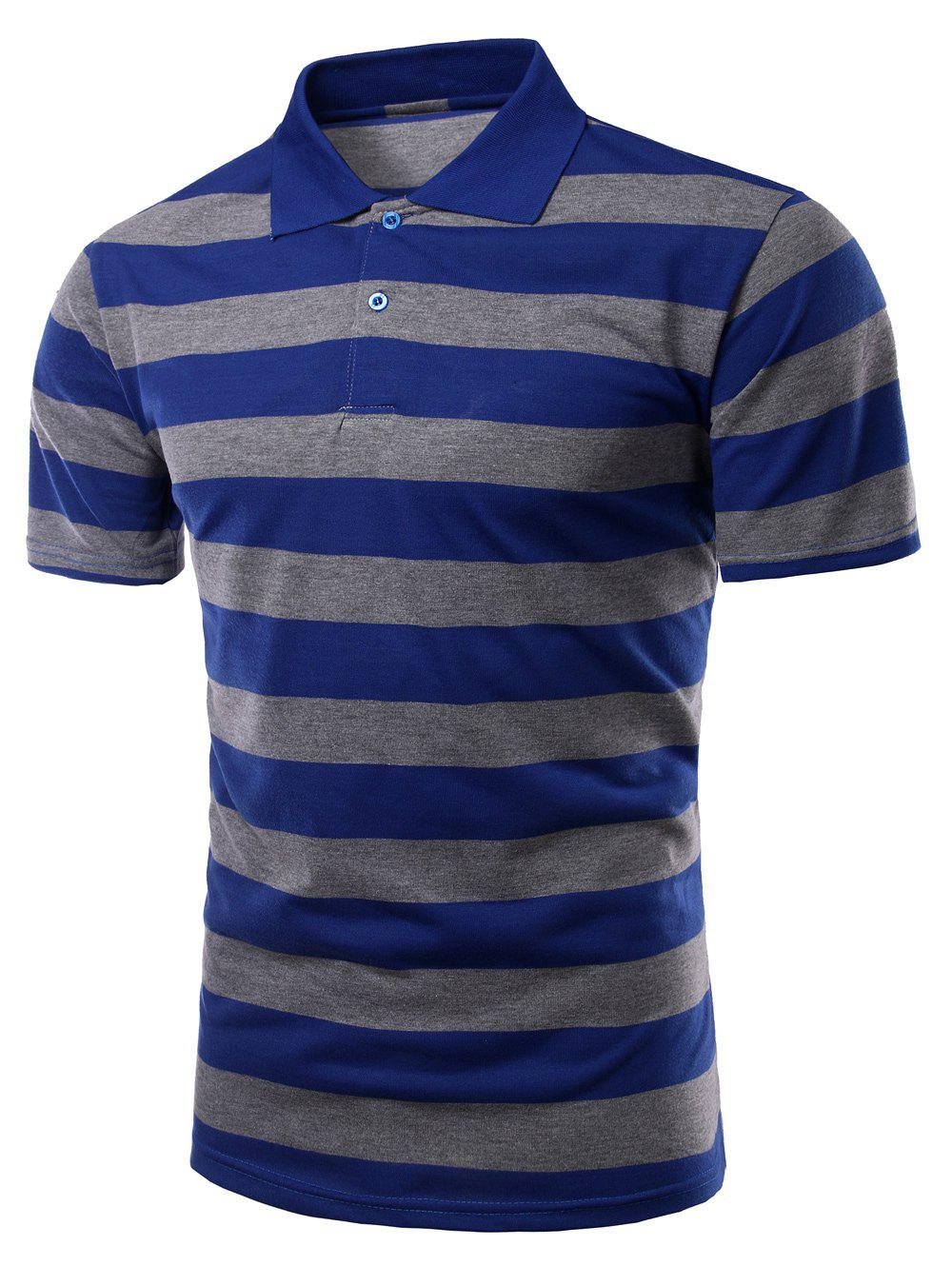 Men's Stripes Turn-down Collar Short Sleeves Polo T-Shirt - BLUE 2XL