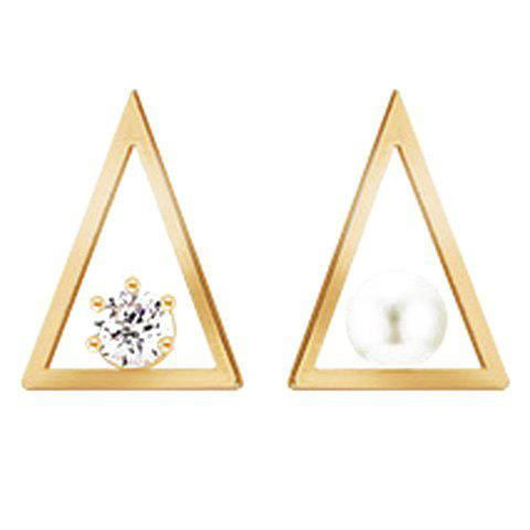 Pair of Fashion Triangle Rhinestone Faux Pearl Stud Earrings For Women - GOLDEN