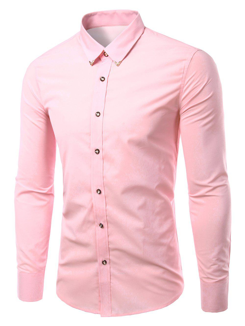 Men's Solid Color Metallic Turn-Down Callor Long Sleeves Shirts - PINK M