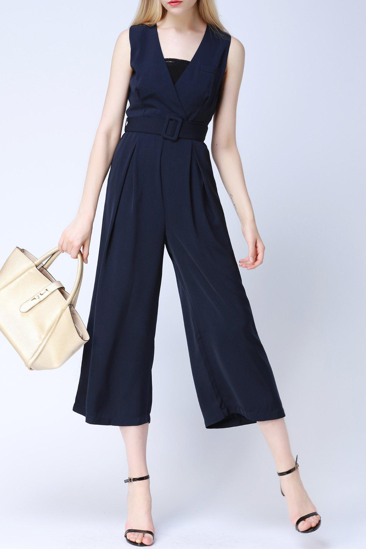 V-Neck Sleeveless Belted Jumpsuit mixed print belted wrap jumpsuit