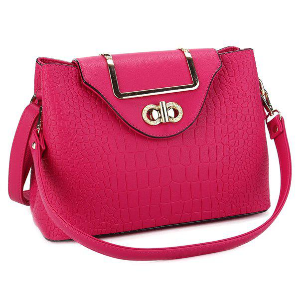 Stylish Embossing and Hasp Design Women's Shoulder Bag