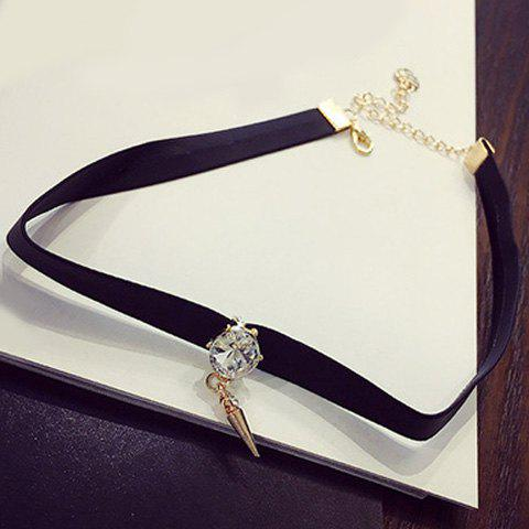 Punk Style Rhinestone Rivet Black Choker Necklace For Women - WHITE