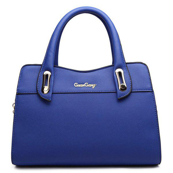 Trendy Metal and Solid Colour Design Women's Tote Bag - BLUE