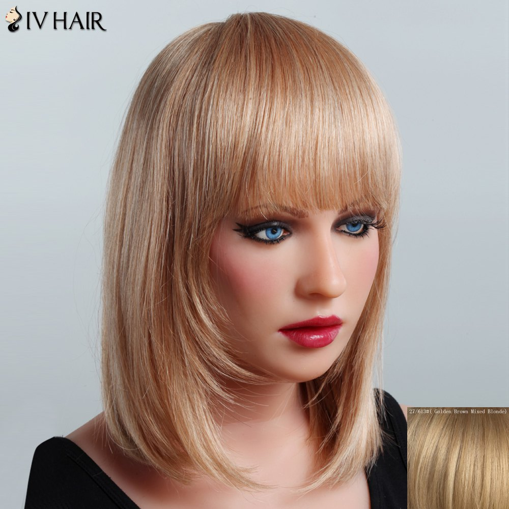 Vogue Medium Layered Human Hair Straight Full Bang Siv Hair Capless Wig For Women - GOLDEN BROWN/BLONDE