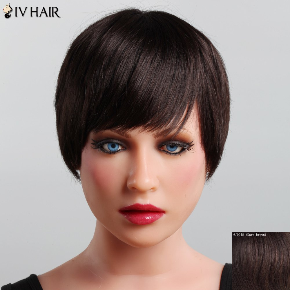 Graceful Straight Capless Siv Hair Short Haircut Side Bang Women's Human Hair Wig