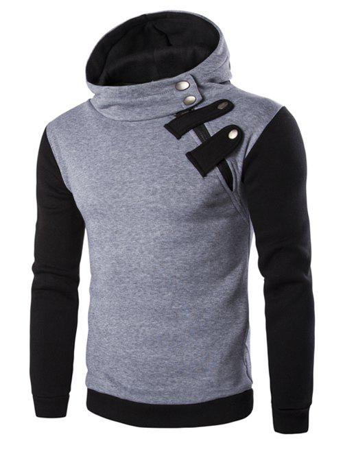 Inclined Zipper Color Block Hooded Long Sleeves Men's Hoodie - LIGHT GRAY L