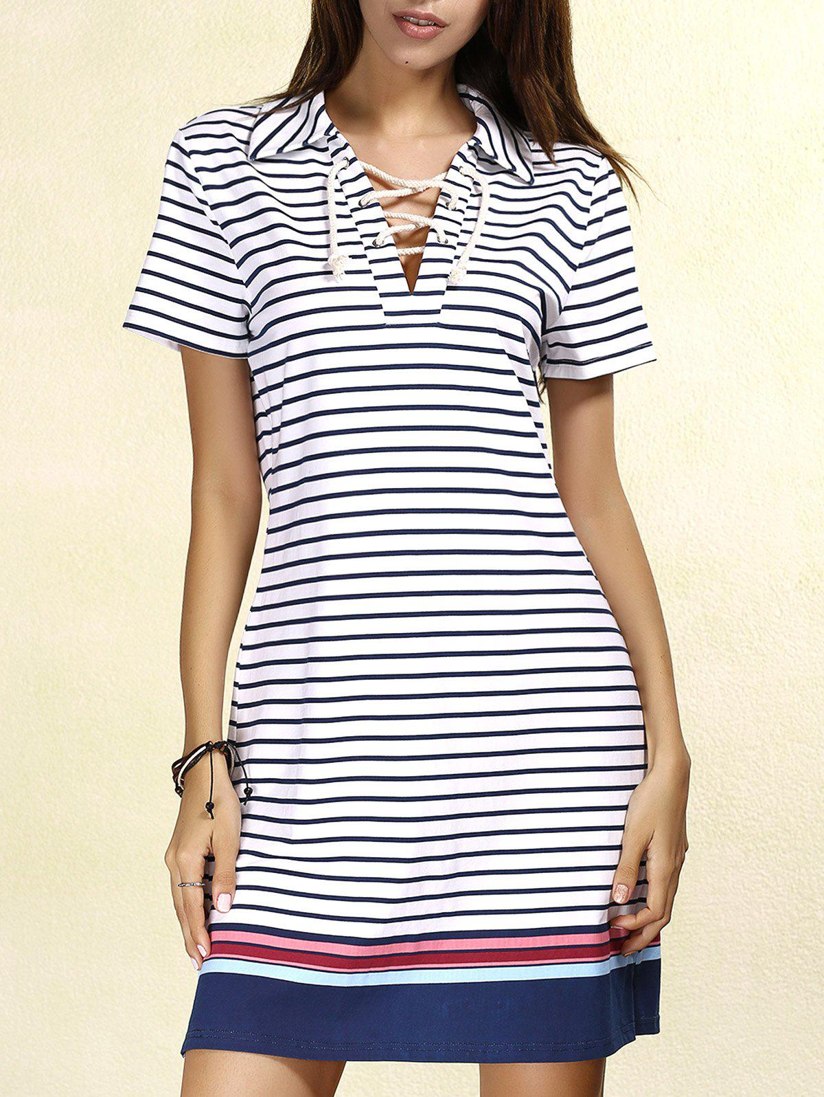 Preppy Style Colorful Striped Lace-Up Short Sleeve Dress For Women - L STRIPE
