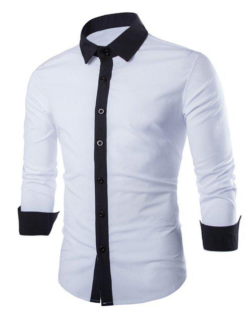 Laconic Turn-down Collar Color Block Top Fly Men's Long Sleeves Shirt - WHITE L