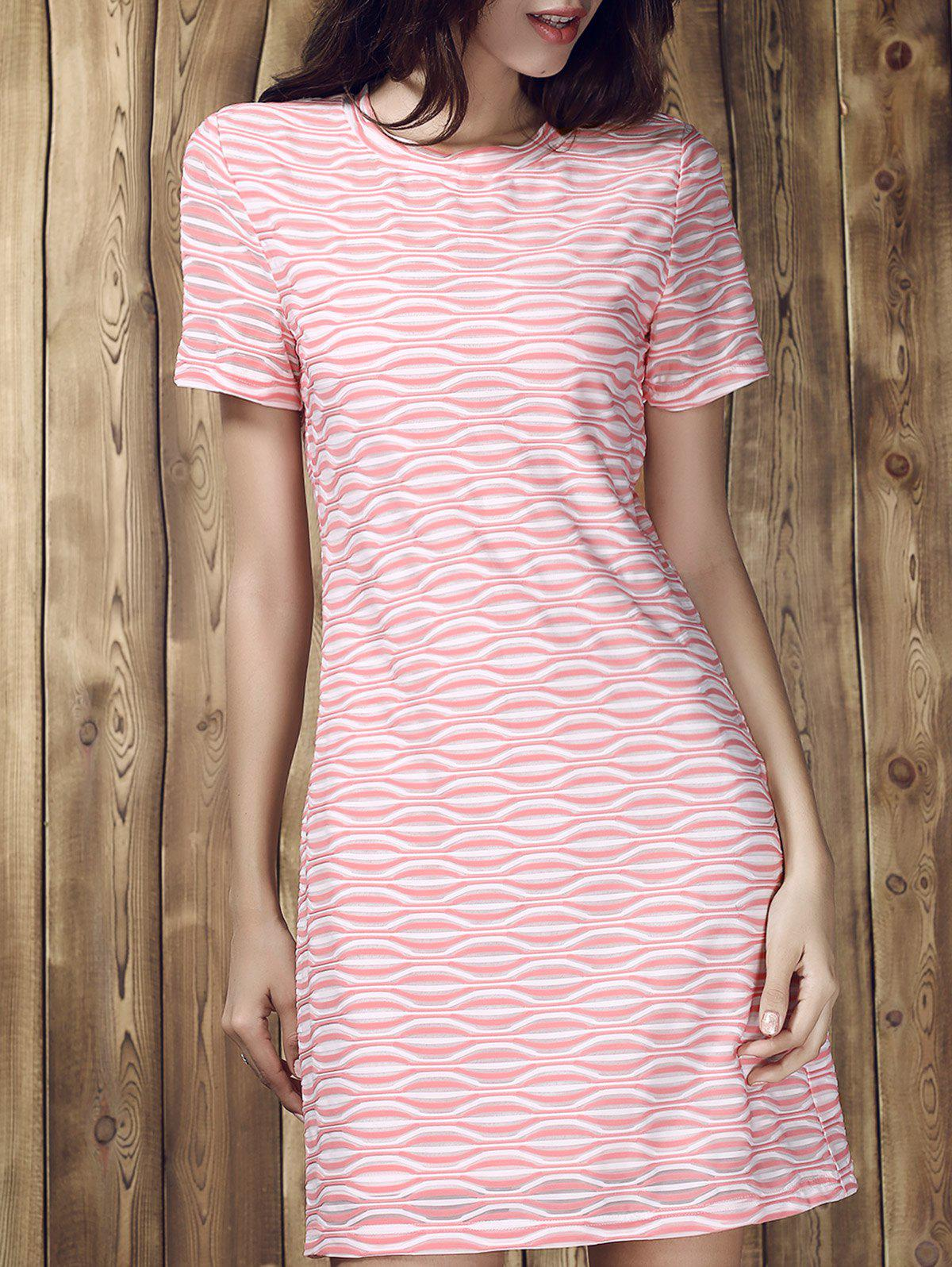 Stripe Round Collar Short Sleeve Dress - COLORMIX XL