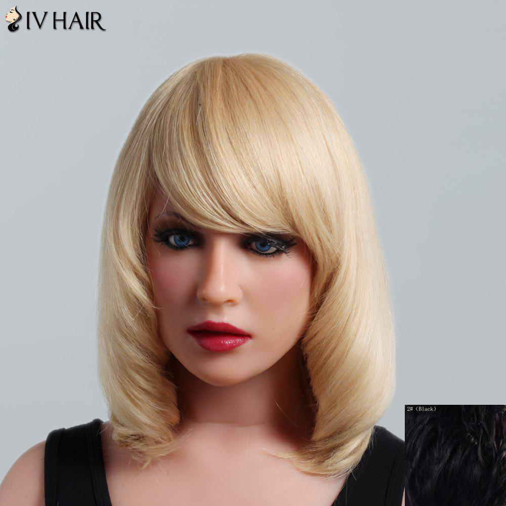 Fluffy Natural Straight Capless Human Hair Noble Medium Side Bang Women's Siv Hair Wig цена