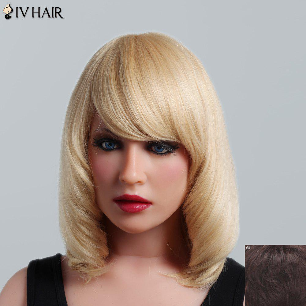 Fluffy Natural Straight Capless Human Hair Noble Medium Side Bang Women's Siv Hair Wig