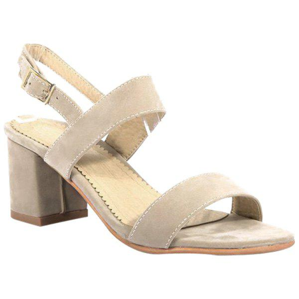 Concise Chunky Heel and Suede Design Women's Sandals - APRICOT 37