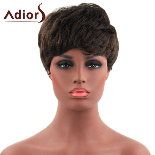 Vogue Short Brown Synthetic Fluffy Natural Straight Capless Adiors Wig For Women - DEEP BROWN