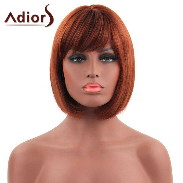 Charming Short Brown Synthetic Bob Hairstyle Straight Capless Adiors Wig For Women - BROWN
