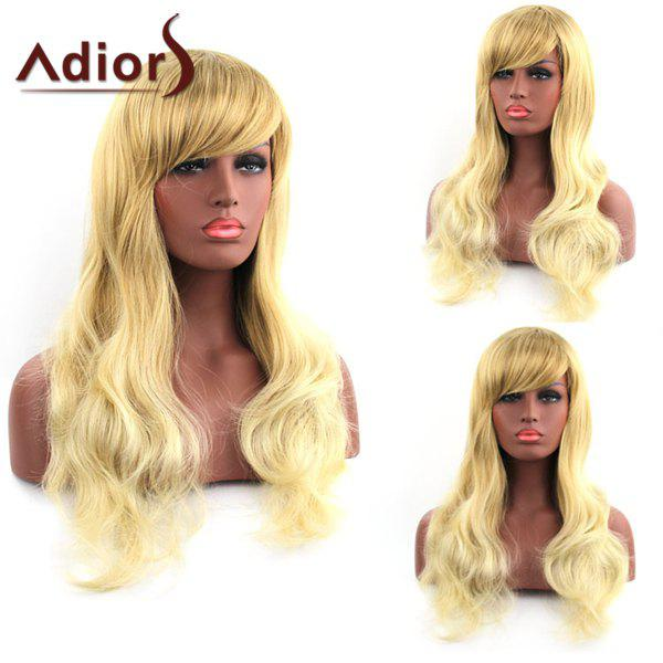 Fluffy Natural Wave Blonde Mixed Stunning Long Side Bang Synthetic Adiors Wig For Women - COLORMIX