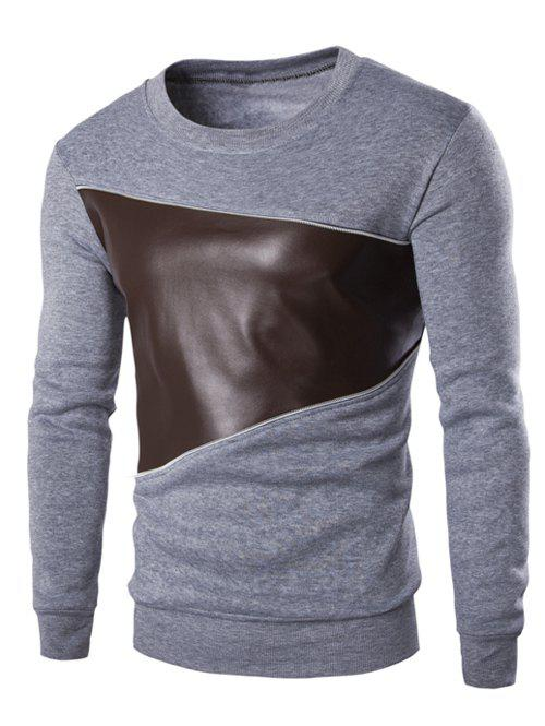 Color Block PU Leather Splicing Round Neck Long Sleeves Men's Sweatshirt - LIGHT GRAY M