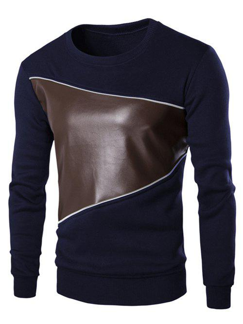 Color Block PU Leather Splicing Round Neck Long Sleeves Men's Sweatshirt - CADETBLUE M