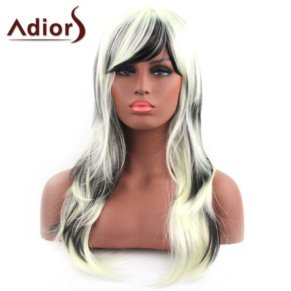 Attractive Long Shaggy Wave Synthetic Black Mixed White Women's Capless Adiors Wig