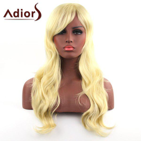 Shaggy Wavy Side Bang Capless Charming Golden Long Haircut Synthetic Adiors Wig For Women - GOLDEN