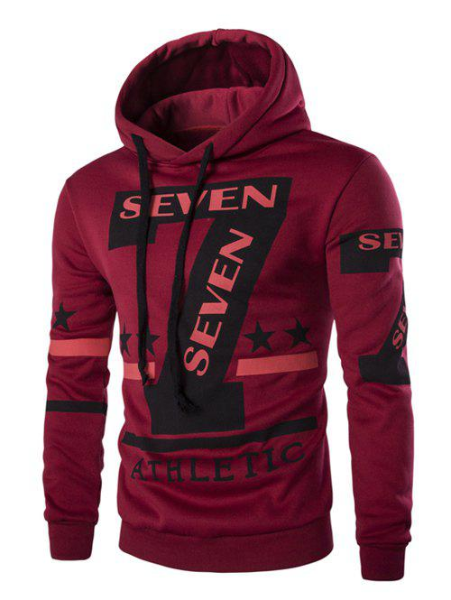 Fashion Hooded Letters Star Stripes Print Men's Long Sleeves Hoodie - RED L