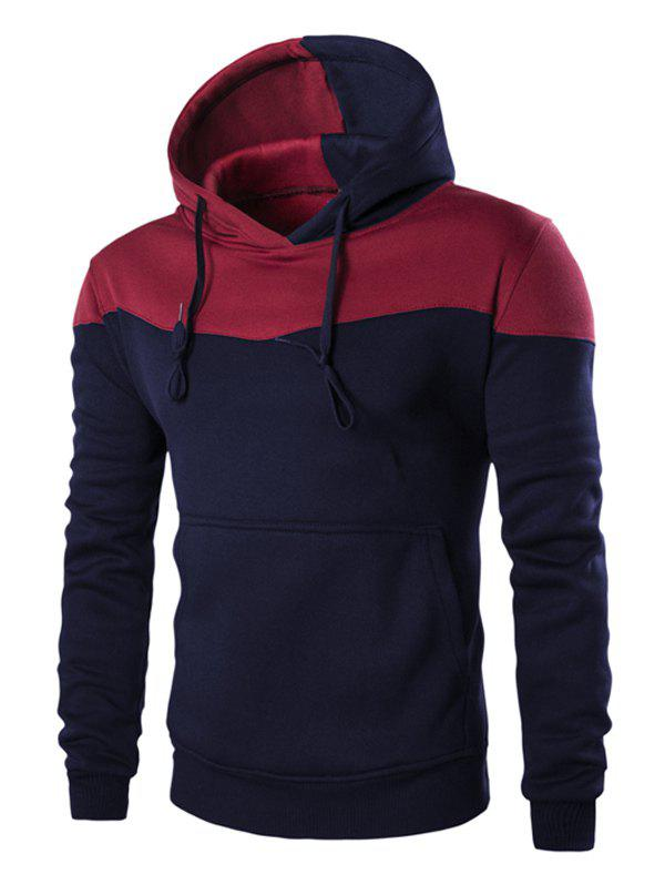 Classic Color Block Front Pocket Hooded Long Sleeves Men's Hoodie