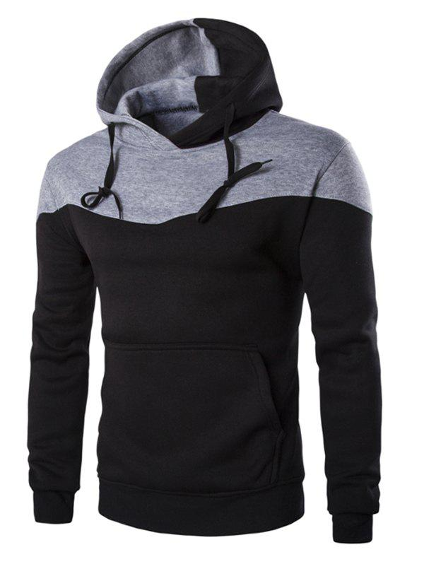 IZZUMI Classic Color Block Front Pocket Hooded Long Sleeves Men's Hoodie - BLACK M