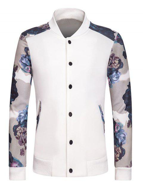 Rib Spliced Floral Print Stand Collar Long Sleeve Button-Up Sweatshirt - WHITE M