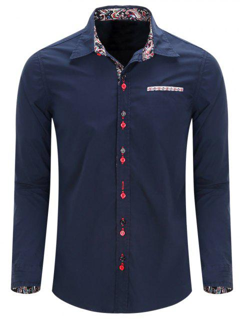 Casual Turn Down Collar Men's Shirts - PURPLISH BLUE M