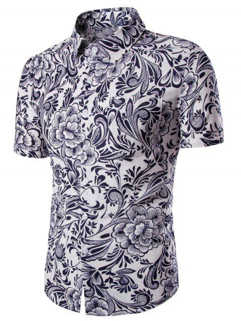 Casual Flower Printing Short Sleeves Men's Shirts - WHITE M