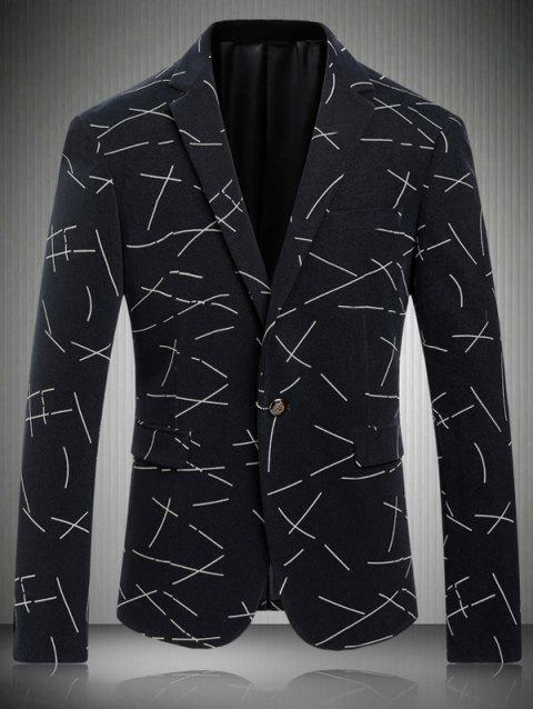 Casual Turn-Down Collar Single-breasted Ligne Imprimer Men 's  manches longues Blazer - Blanc XL