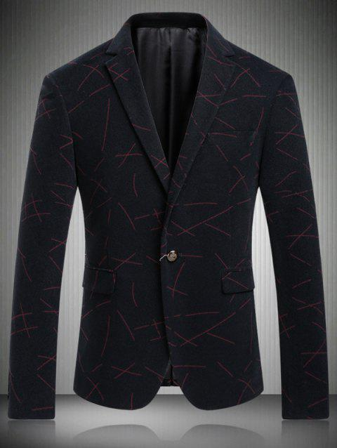 Casual Turn-Down Collar Single-breasted Ligne Imprimer Men 's  manches longues Blazer - Rouge M
