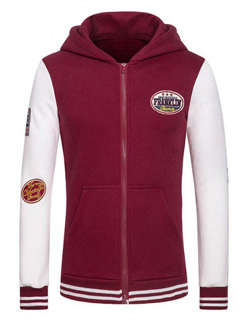 Letters Embroidered Applique Hooded Long Sleeve Zipper Hoodie - WINE RED L