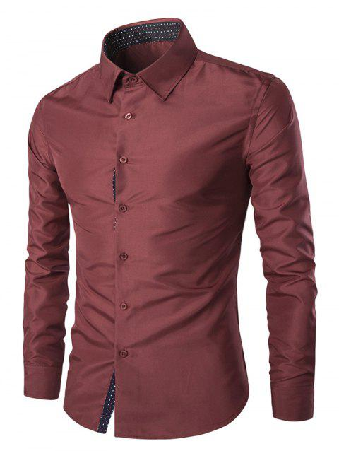 Solid Color Long Sleeves Single Breasted Men's Shirts - WINE RED M