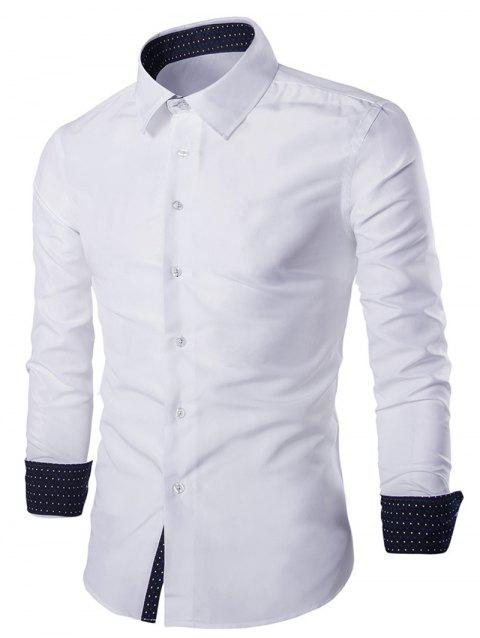 Solid Color Long Sleeves Single Breasted Men's Shirts - WHITE M