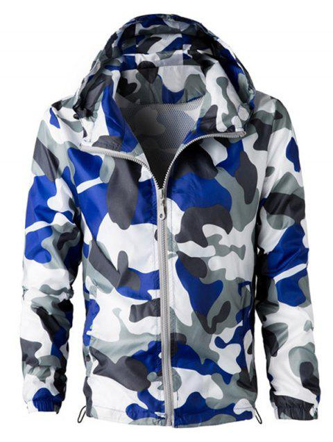 Camouflage Hooded Long Sleeve Polyester Men's Jacket - BLUE/WHITE 2XL
