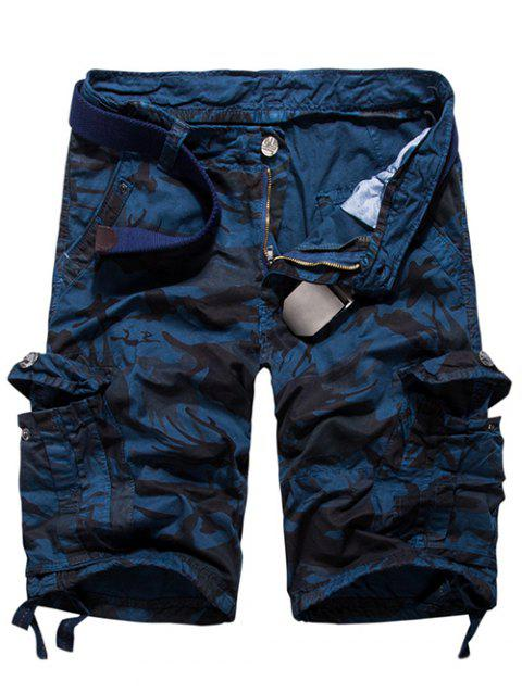 Loose Fit Multi-pockets Camo Printed Men's Cargo Shorts - BLUE 31