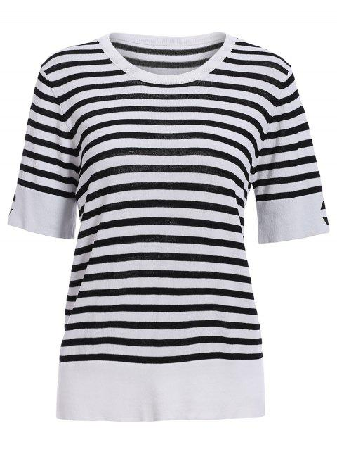 Casual Style Women's Round Neck Half Sleeves Striped Pullover Sweater - WHITE/BLACK ONE SIZE(FIT SIZE XS TO M)