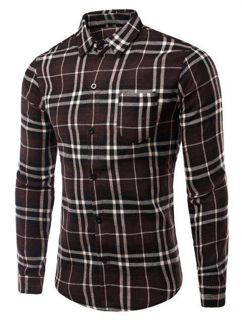 Men's Turn-Down Collar Pocket Checked Pattern Long Sleeves Shirt - COFFEE M