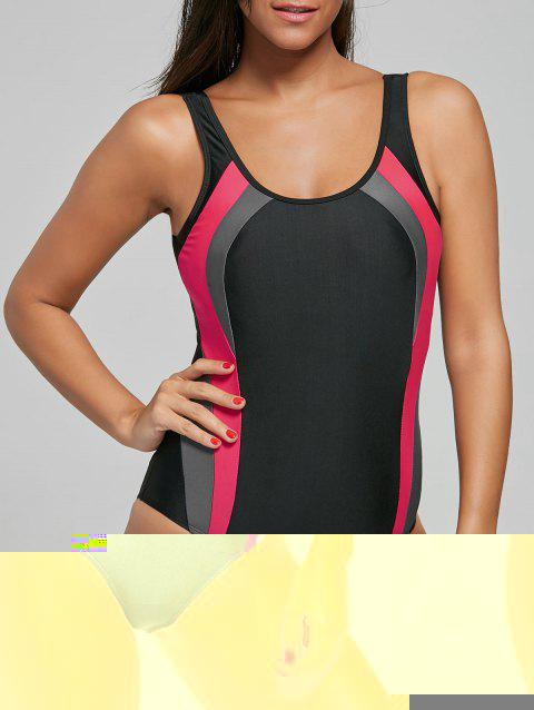 Open Back Color Block One Piece Sports Swimsuit - BLACK XL