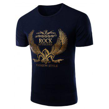 Men's Fashion Round Neck Golden Wing Print Short Sleeves T-Shirt