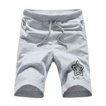 Buy Simple Lace-Up Letters Star Print Men's Straight Leg Shorts LIGHT GRAY