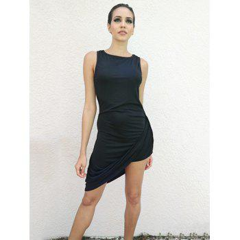 Solid Color Sleeveless Round Collar Asymmetrical Hem Nipped Waist Dress - BLACK BLACK