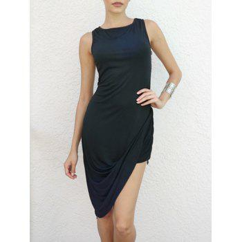 Solid Color Sleeveless Round Collar Asymmetrical Hem Nipped Waist Dress - BLACK L