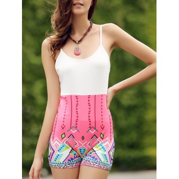 Chic Spaghetti Strap Sleeveless Bodycon Printed Women's Romper