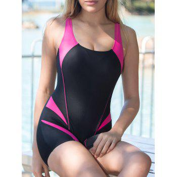 Active Style U Neck Color Block Open Back One-Piece Women's Swimsuit
