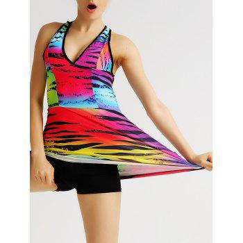 Colorful Plunging Neck Backless Criss Cross Women's Gym Tank Top