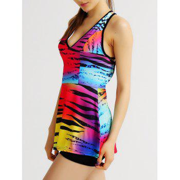 Colorful Plunging Neck Backless Criss Cross Women's Gym Tank Top - COLORMIX M